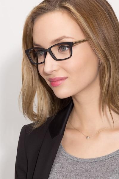 Mesquite Black Yellow Acetate Eyeglass Frames for Women from EyeBuyDirect