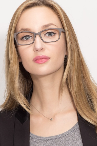 Mesquite Coffee Wood-texture Eyeglass Frames for Women from EyeBuyDirect, Front View