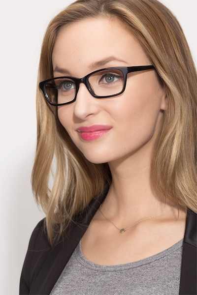 Mesquite Black Plastic Eyeglass Frames for Women from EyeBuyDirect, Front View