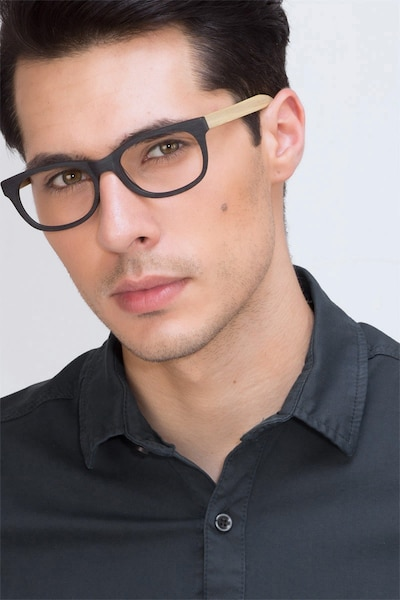 Panama Black Acetate Eyeglass Frames for Men from EyeBuyDirect, Front View