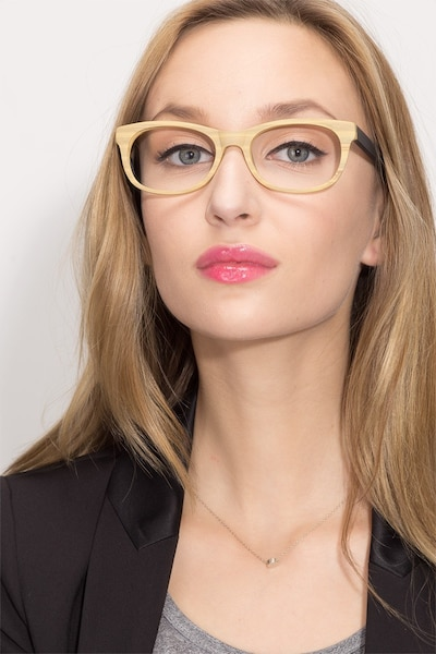 Panama Wood Acetate Eyeglass Frames for Women from EyeBuyDirect, Front View