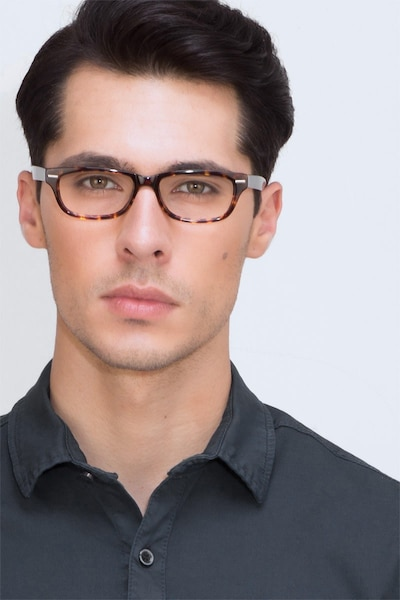 Fairmount Tortoise Acetate Eyeglass Frames for Men from EyeBuyDirect, Front View