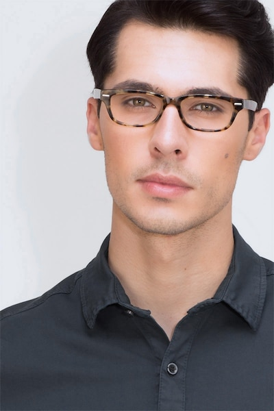 Fairmount Brown Tortoise Acetate Eyeglass Frames for Men from EyeBuyDirect, Front View