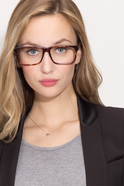 Sydney  Tortoise  Acetate Eyeglass Frames for Women from EyeBuyDirect, Front View