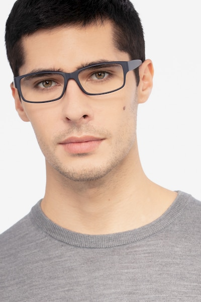 Apollo Matte Navy Plastic Eyeglass Frames for Men from EyeBuyDirect, Front View