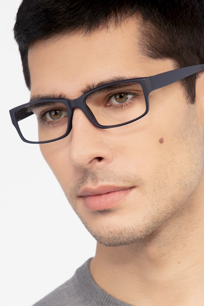 Apollo Matte Navy Plastic Eyeglass Frames for Men from EyeBuyDirect