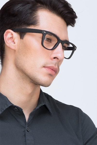 Atlee Matte navy Plastic Eyeglass Frames for Men from EyeBuyDirect, Front View