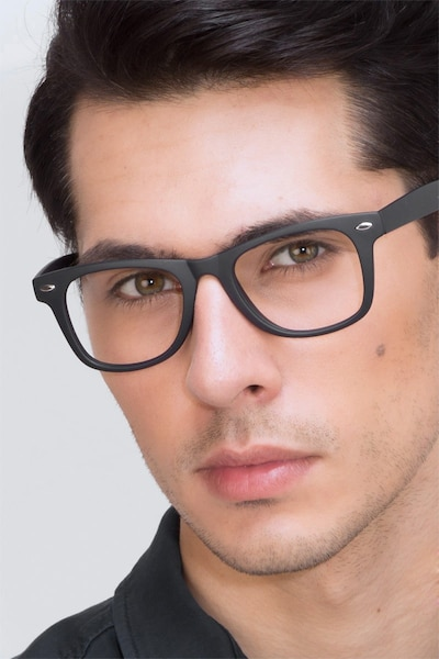 Atlee Matte navy Plastic Eyeglass Frames for Men from EyeBuyDirect