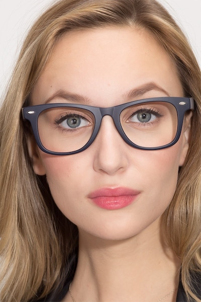 Atlee Matte navy Plastic Eyeglass Frames for Women from EyeBuyDirect