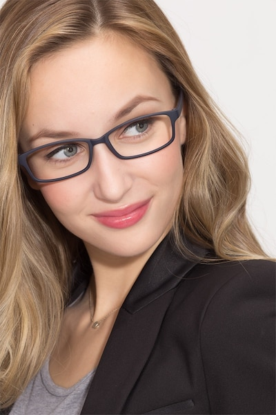 Broad Navy Plastic Eyeglass Frames for Women from EyeBuyDirect, Front View