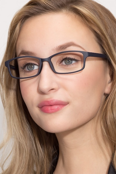 Broad Navy Plastic Eyeglass Frames for Women from EyeBuyDirect