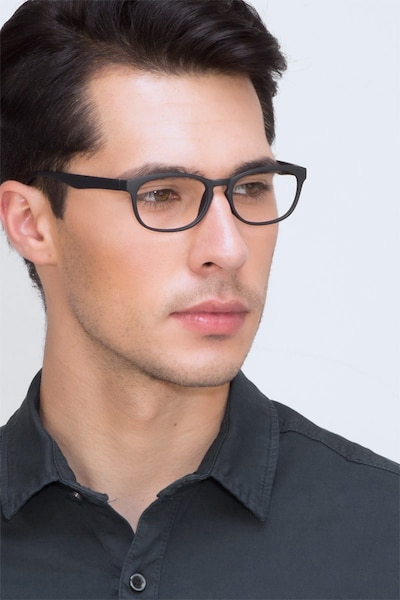 Drums Navy Plastic Eyeglass Frames for Men from EyeBuyDirect, Front View
