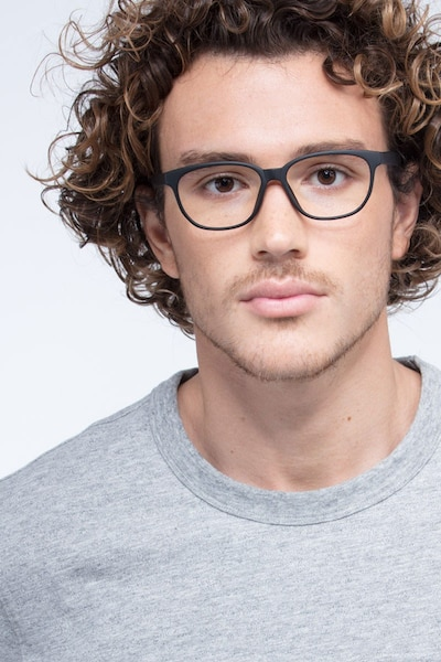 Moody Matte Black Plastic Eyeglass Frames for Men from EyeBuyDirect, Front View