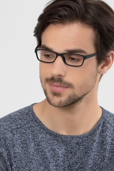 Versus Matte Black Plastic Eyeglass Frames for Men from EyeBuyDirect, Front View
