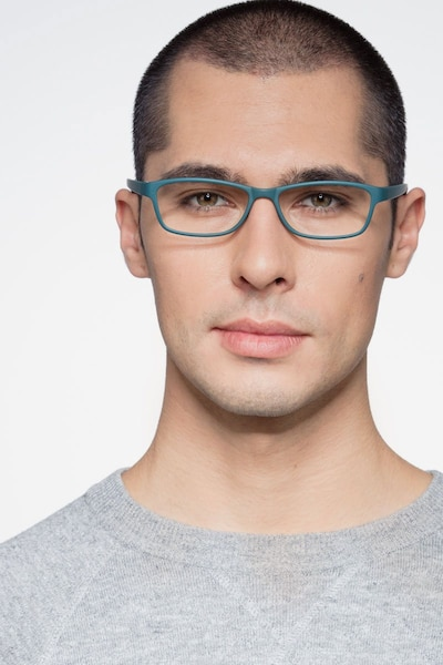 Versus Matte Green Plastic Eyeglass Frames for Men from EyeBuyDirect, Front View