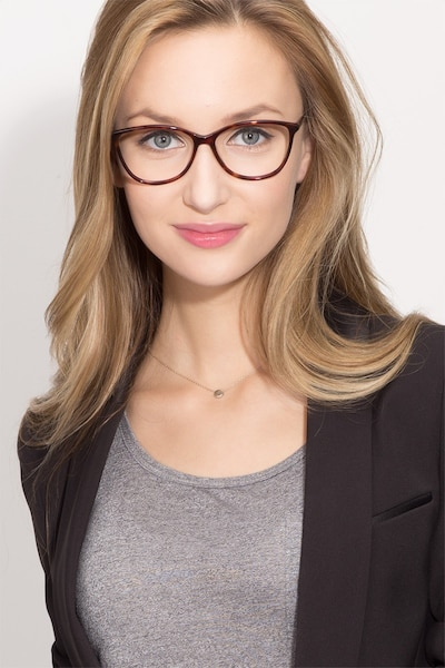 Charlize Tortoise Acetate Eyeglass Frames for Women from EyeBuyDirect, Front View