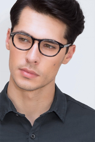 Little Things Gray Striped Acetate Eyeglass Frames for Men from EyeBuyDirect, Front View