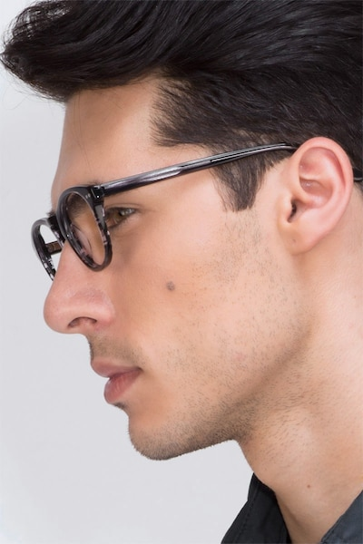 Little Things Gray Striped Acétate Montures de Lunettes pour Hommes d'EyeBuyDirect