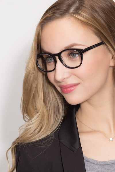 Little Things Gray Striped Acetate Eyeglass Frames for Women from EyeBuyDirect