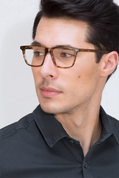 Default Brown Striped Acetate Eyeglass Frames for Men from EyeBuyDirect