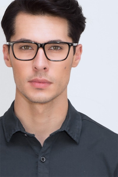 Default Black Acetate Eyeglass Frames for Men from EyeBuyDirect, Front View