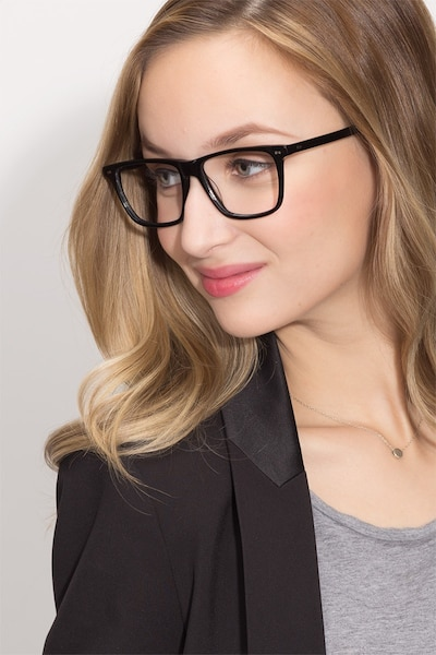 Default Black Acetate Eyeglass Frames for Women from EyeBuyDirect, Front View