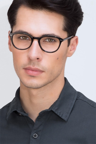 Runaway Black Acetate Eyeglass Frames for Men from EyeBuyDirect, Front View