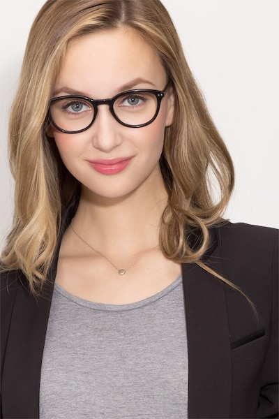 Runaway Black Acetate Eyeglass Frames for Women from EyeBuyDirect, Front View