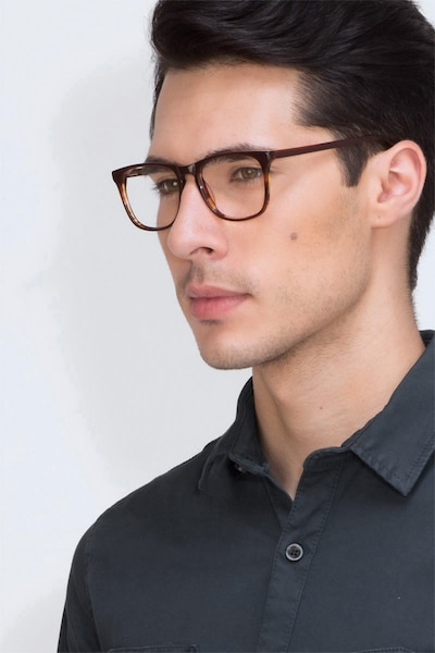 Skyline Brown Striped Acetate Eyeglass Frames for Men from EyeBuyDirect