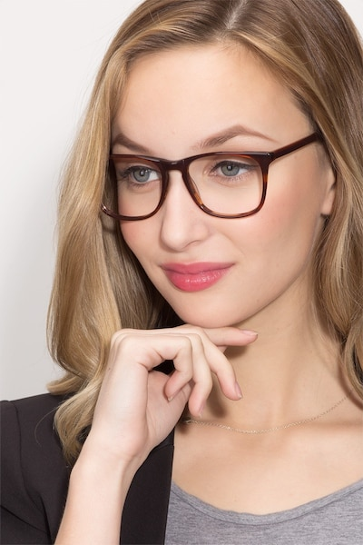 Skyline Brown Striped Acetate Eyeglass Frames for Women from EyeBuyDirect, Front View