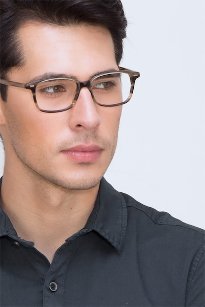 Sway Brown Striped Acetate Eyeglass Frames for Men from EyeBuyDirect, Front View