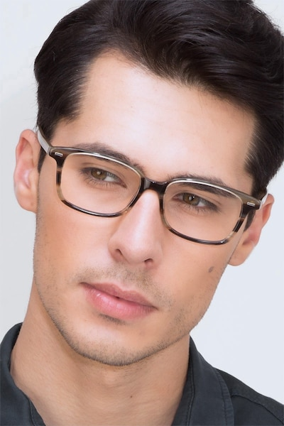 Sway Brown Striped Acetate Eyeglass Frames for Men from EyeBuyDirect