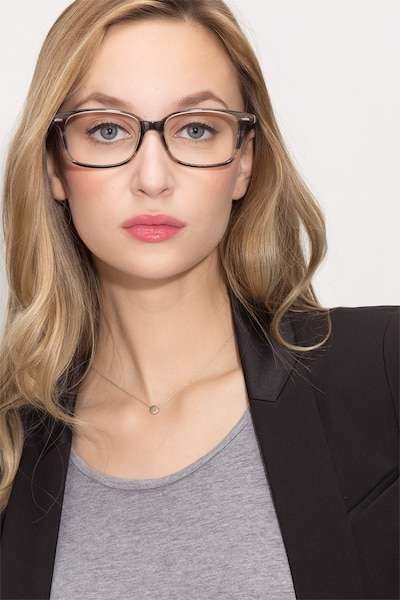 Sway Brown Striped Acetate Eyeglass Frames for Women from EyeBuyDirect, Front View