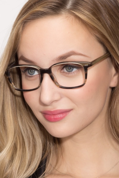 Sway Brown Striped Acetate Eyeglass Frames for Women from EyeBuyDirect