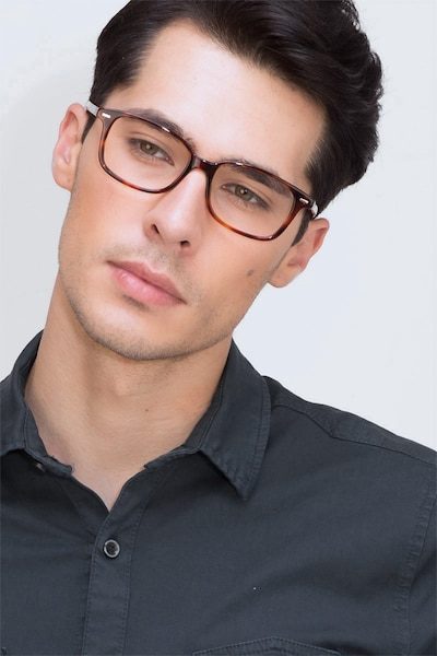 Sway Tortoise Acetate Eyeglass Frames for Men from EyeBuyDirect, Front View