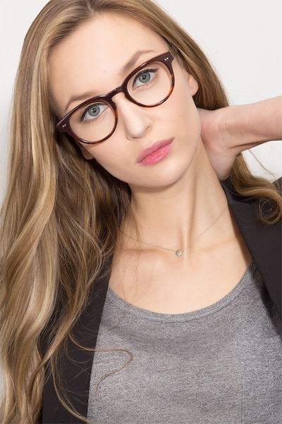 Oversea  Brown Striped  Acetate Eyeglass Frames for Women from EyeBuyDirect, Front View