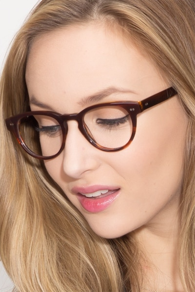Oversea  Brown Striped  Acetate Eyeglass Frames for Women from EyeBuyDirect