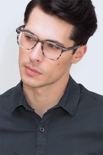 Samson  Gray Striped  Acetate Eyeglass Frames for Men from EyeBuyDirect, Front View