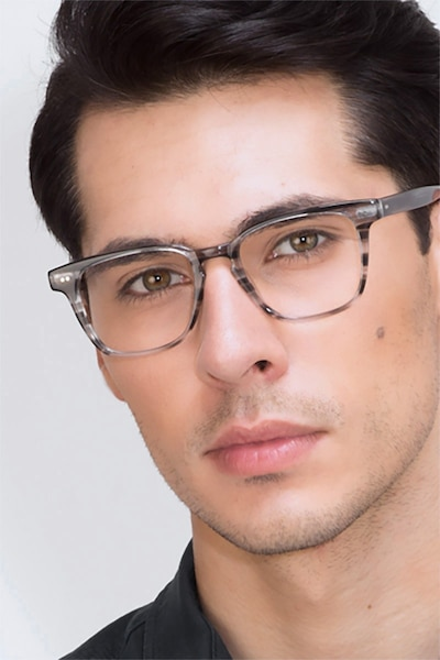 Samson  Gray Striped  Acetate Eyeglass Frames for Men from EyeBuyDirect