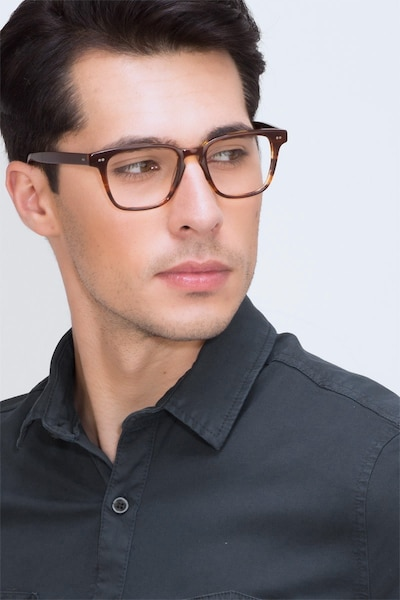 Samson Brown Acetate Eyeglass Frames for Men from EyeBuyDirect, Front View