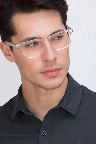 Pacific Clear Acetate Eyeglass Frames for Men from EyeBuyDirect, Front View