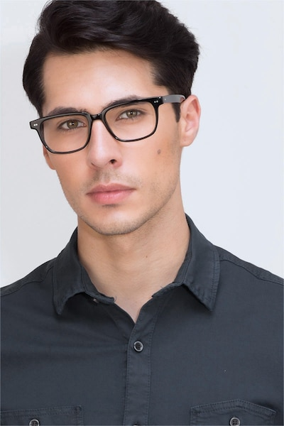Pacific Black Acetate Eyeglass Frames for Men from EyeBuyDirect, Front View