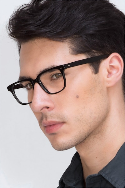 Pacific Black Acetate Eyeglass Frames for Men from EyeBuyDirect