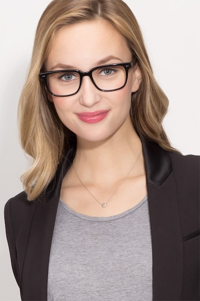 Pacific Black Acetate Eyeglass Frames for Women from EyeBuyDirect, Front View