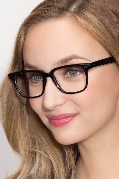 Pacific Black Acetate Eyeglass Frames for Women from EyeBuyDirect