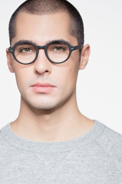 Aprem Matte Black Acetate Eyeglass Frames for Men from EyeBuyDirect, Front View