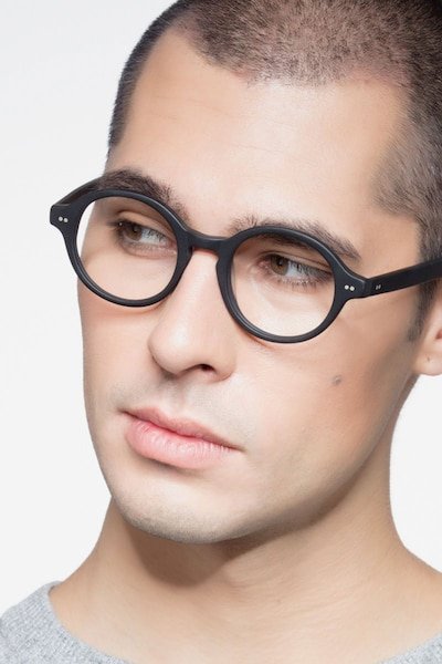Aprem Matte Black Acetate Eyeglass Frames for Men from EyeBuyDirect