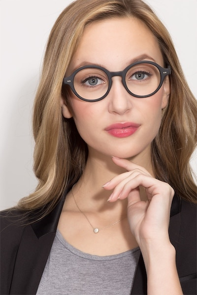Aprem Matte Black Acetate Eyeglass Frames for Women from EyeBuyDirect, Front View