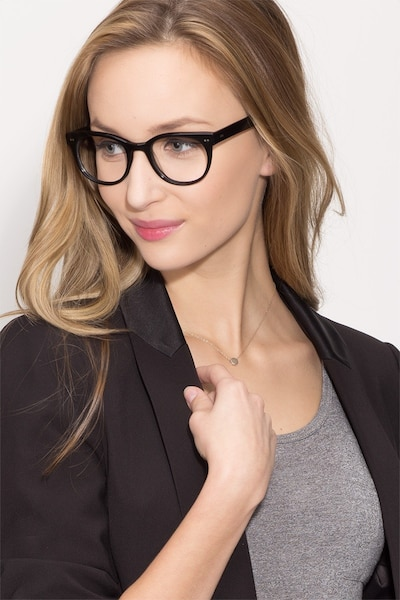 Daybreak Black Acetate Eyeglass Frames for Women from EyeBuyDirect, Front View