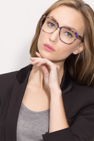 Capucine Blue Floral Acetate Eyeglass Frames for Women from EyeBuyDirect, Front View